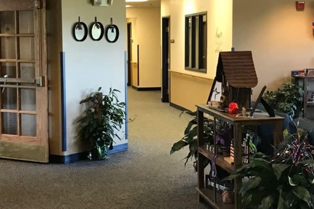 Lobby entrance and antique display at Lawton Senior Living in Lawton, Iowa.