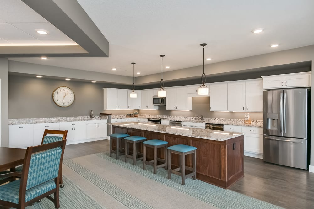 The great room kitchen at Applewood Pointe Eagan in Eagan, Minnesota.