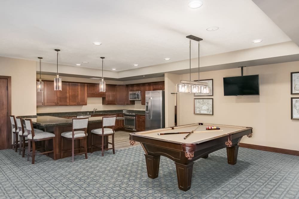 The Game room with a pool table at Applewood Pointe Eagan in Eagan, Minnesota.