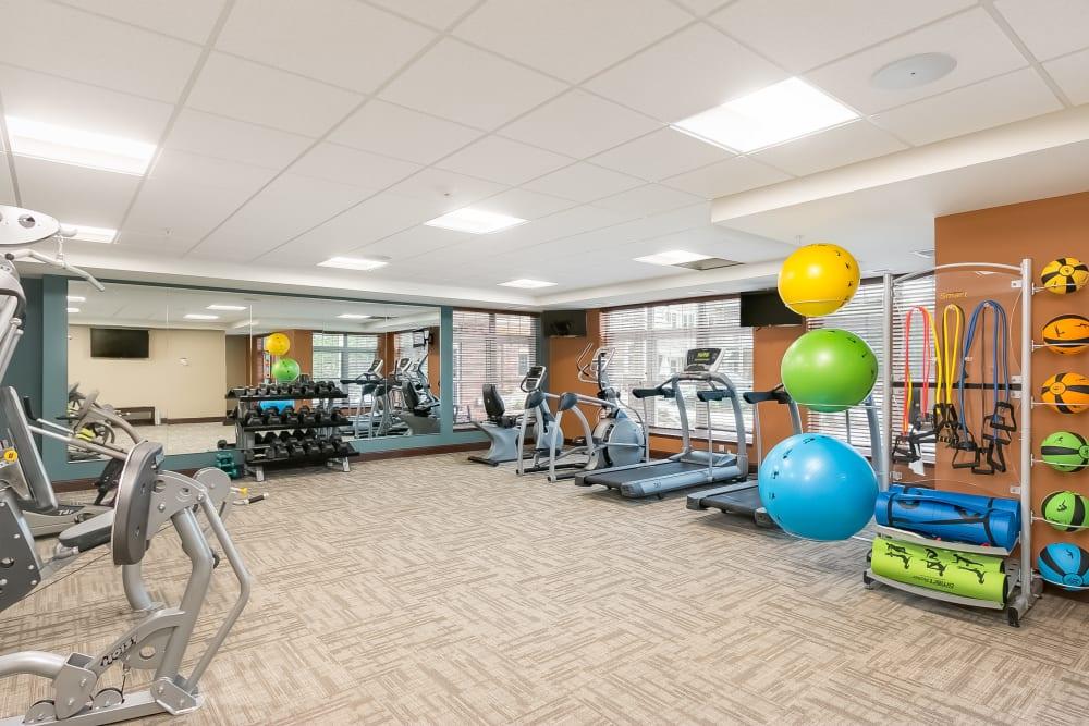 Fitness room at Applewood Pointe of Minnetonka in Minnetonka, Minnesota.