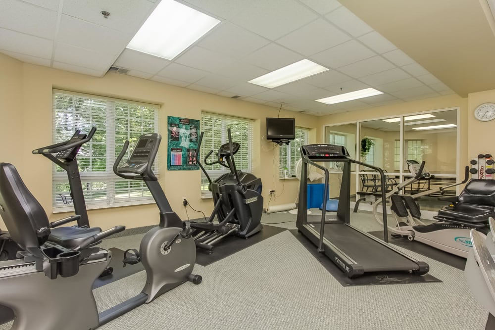 Resident fitness room at Applewood Pointe Maple Grove in Maple Grove, Minnesota.