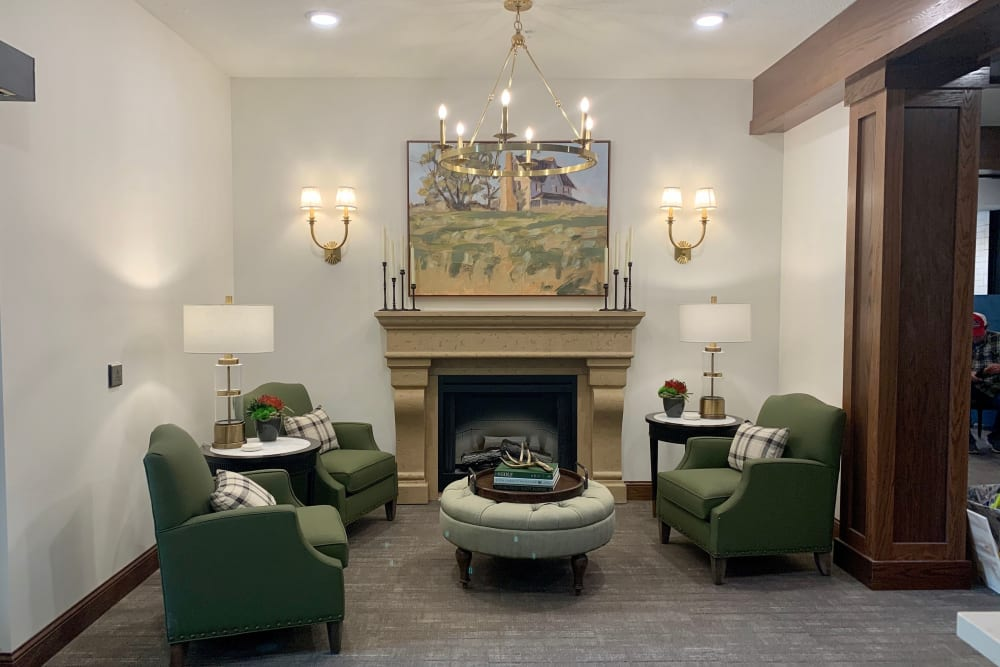 Community area with fireplace at Seven Hills Senior Living