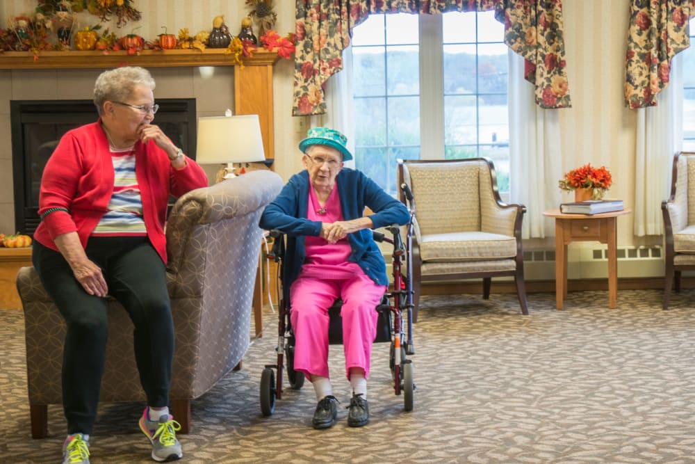 Residents sitting after a holiday celebration at Meadow Lakes Senior Living in Rochester, Minnesota.