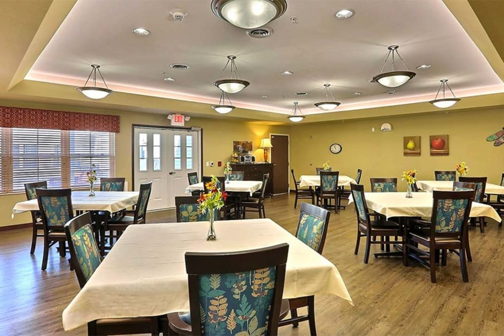 Spacious resident dining room at Milestone Senior Living in Cross Plains, Wisconsin.