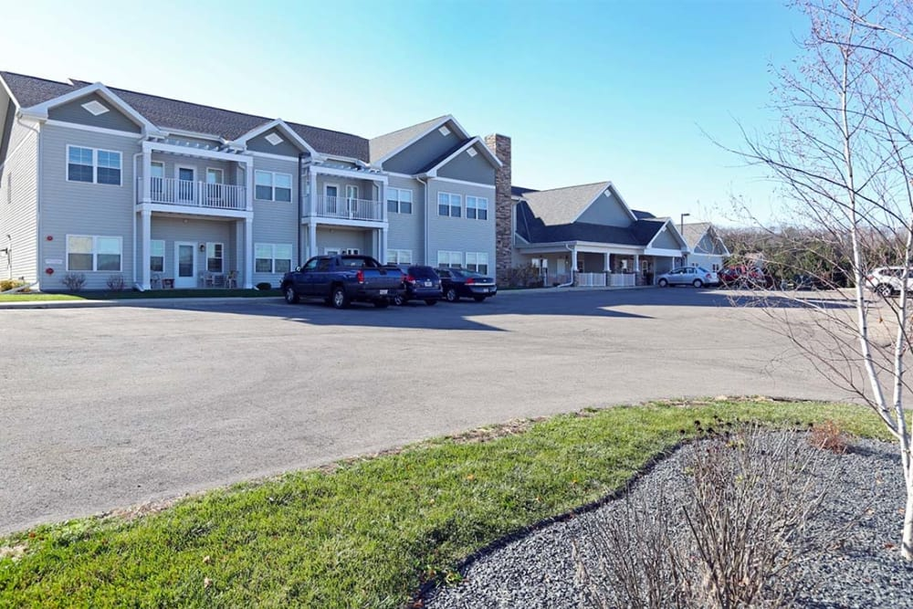 Exterior view and pond at Milestone Senior Living in Cross Plains, Wisconsin.