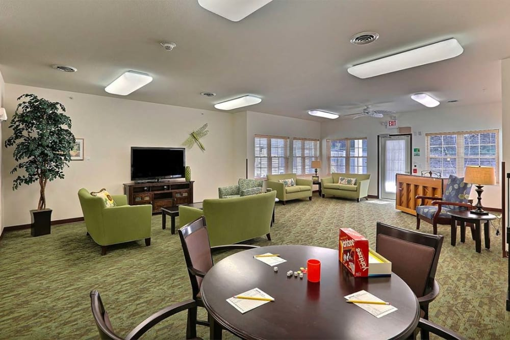 Community game and tv room at Milestone Senior Living in Cross Plains, Wisconsin.