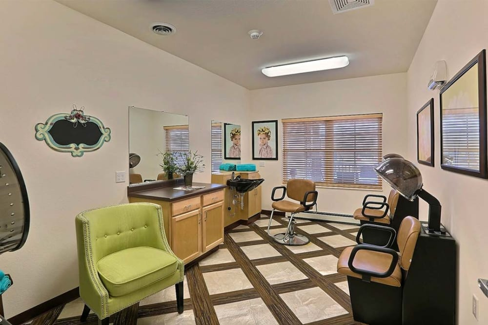 Styling salon for residents at Milestone Senior Living in Cross Plains, Wisconsin.