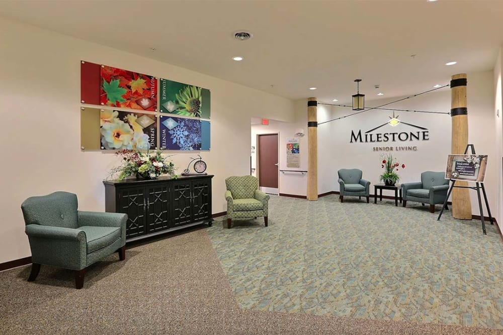 Main lobby and art work at Milestone Senior Living in Cross Plains, Wisconsin