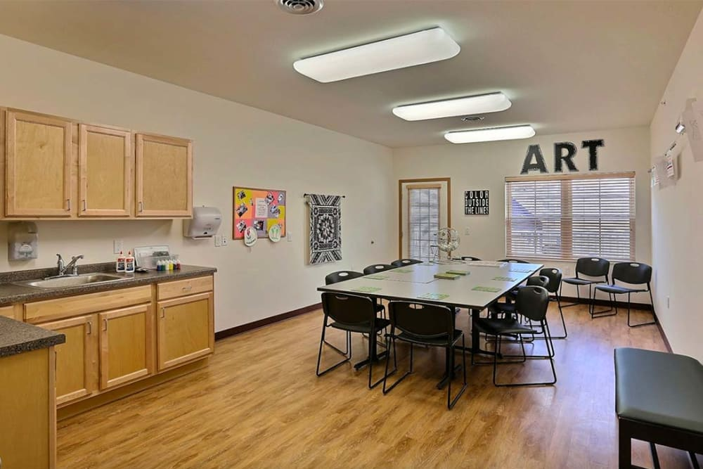 Resident arts and crafts room at Milestone Senior Living in Cross Plains, Wisconsin.