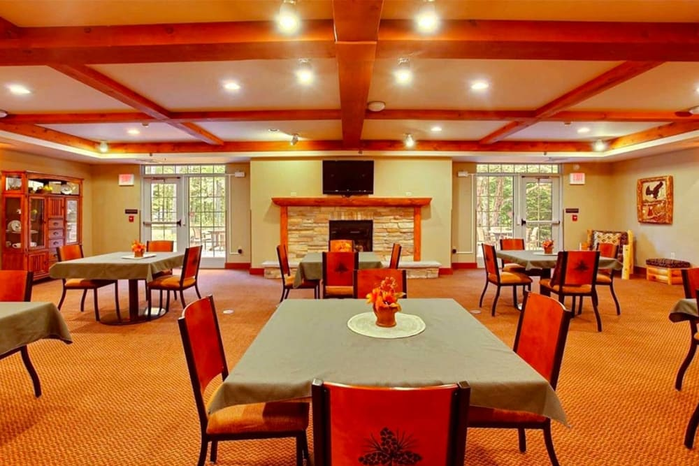 Spacious resident dining room at Milestone Senior Living in Eagle River, Wisconsin.