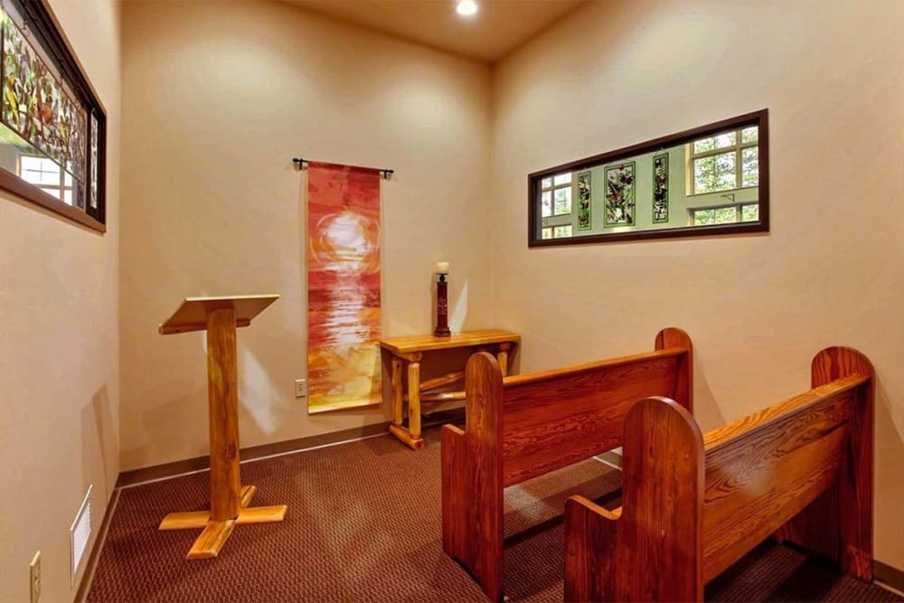 Resident chapel at Milestone Senior Living in Eagle River, Wisconsin