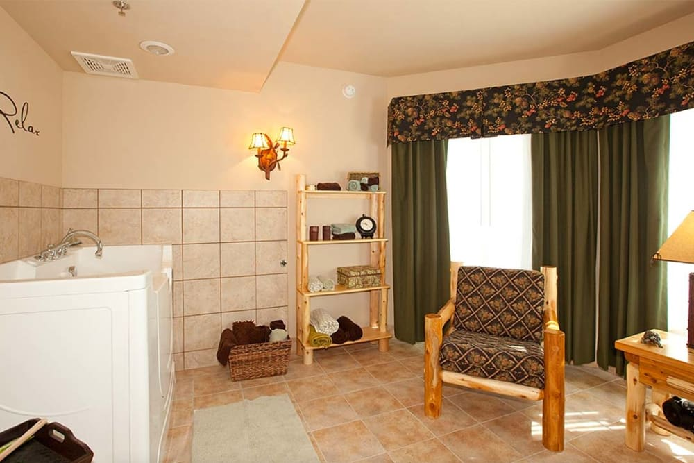 Resident spa with Jacuzzi tub at Milestone Senior Living in Eagle River, Wisconsin.