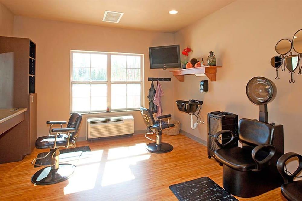 In-house hair salon at Milestone Senior Living Eagle River in Eagle River, Wisconsin.