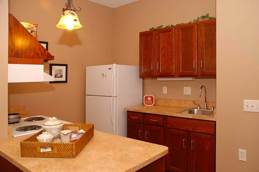 Resident apartment with full kitchen at Milestone Senior Living in Eau Claire, Wisconsin.