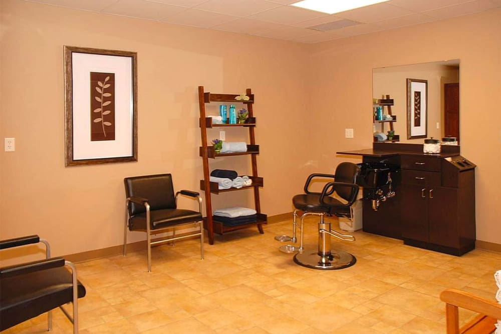 Hair salon for residents at Milestone Senior Living in Eau Claire, Wisconsin.
