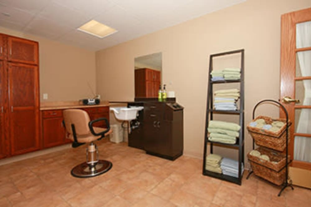 Hair salon for assisted living residents at Milestone Senior Living in Faribault, Minnesota.