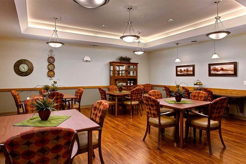 Spacious resident dining room at Milestone Senior Living in Hillsboro, Wisconsin.