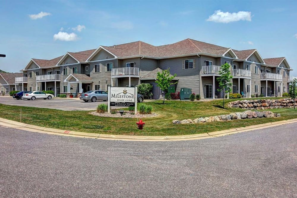 Exterior view of apartment buildings at Milestone Senior Living in Hillsboro, Wisconsin.
