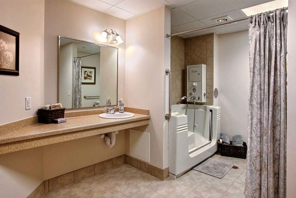 Resident bathroom at Milestone Senior Living in Hillsboro, Wisconsin.