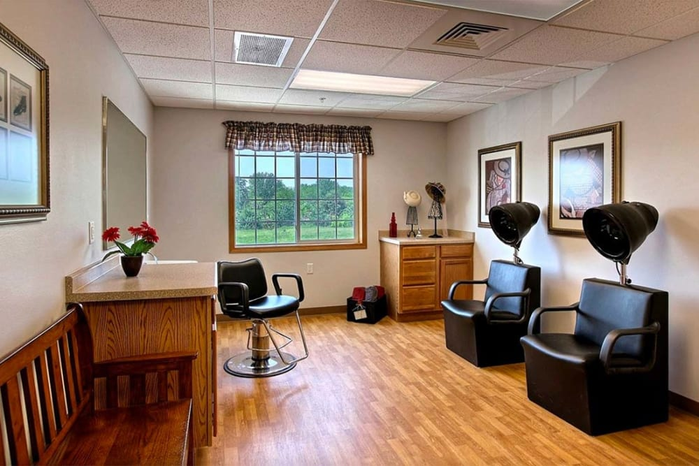 Hair salon for residents at Milestone Senior Living in Hillsboro, Wisconsin.