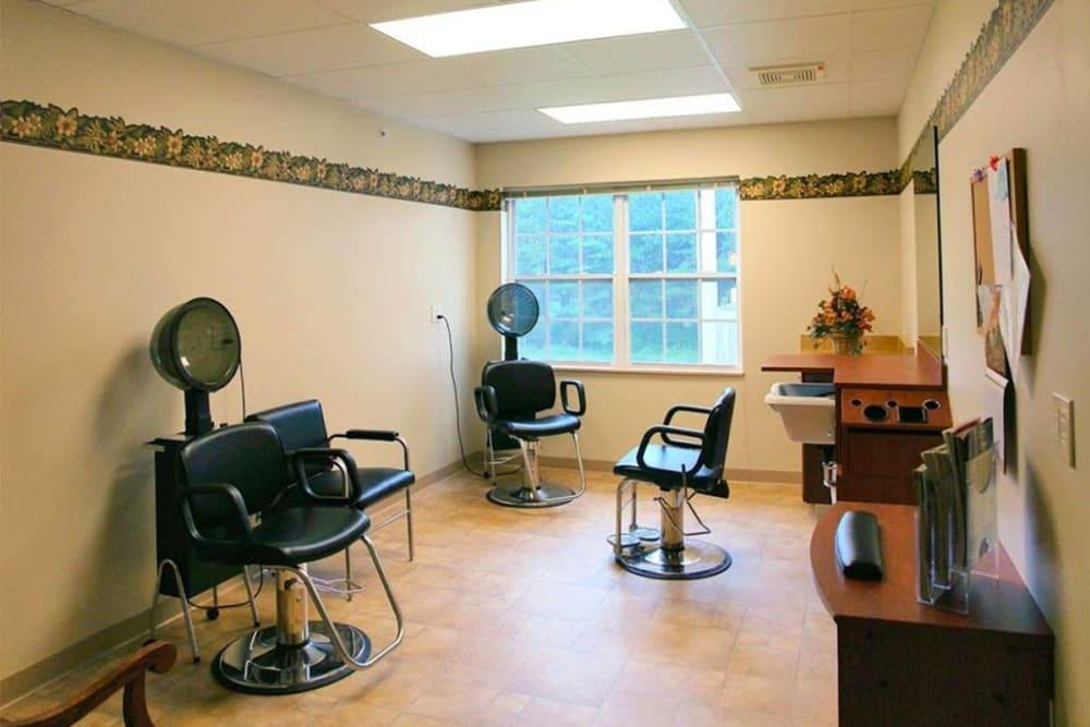 Resident hair salon at Milestone Senior Living in Rhinelander, Wisconsin.