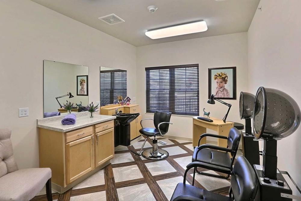 Resident hair salon at Milestone Senior Living Stoughton in Stoughton, Wisconsin.