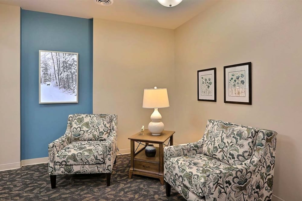 Comfortable seating area at Milestone Senior Living in Stoughton, Wisconsin