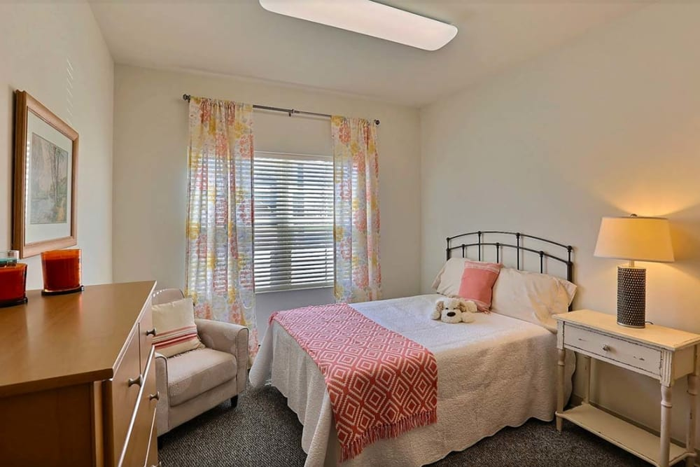 Resident bedroom at Milestone Senior Living in Stoughton, Wisconsin.