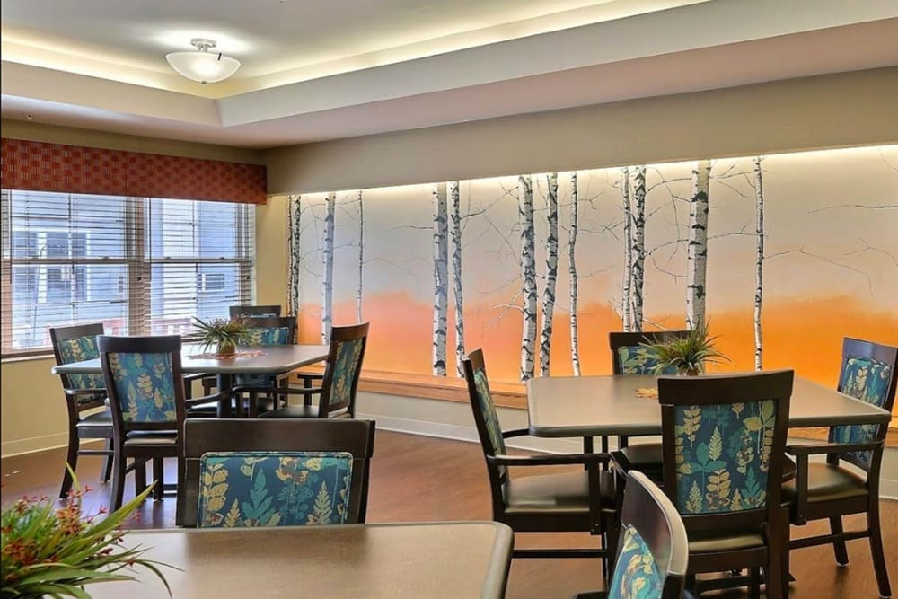 Spacious resident dining room at Milestone Senior Living in Tomahawk, Wisconsin.