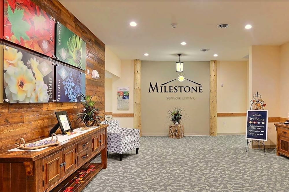 Main lobby with artwork at Milestone Senior Living in Tomahawk, Wisconsin.