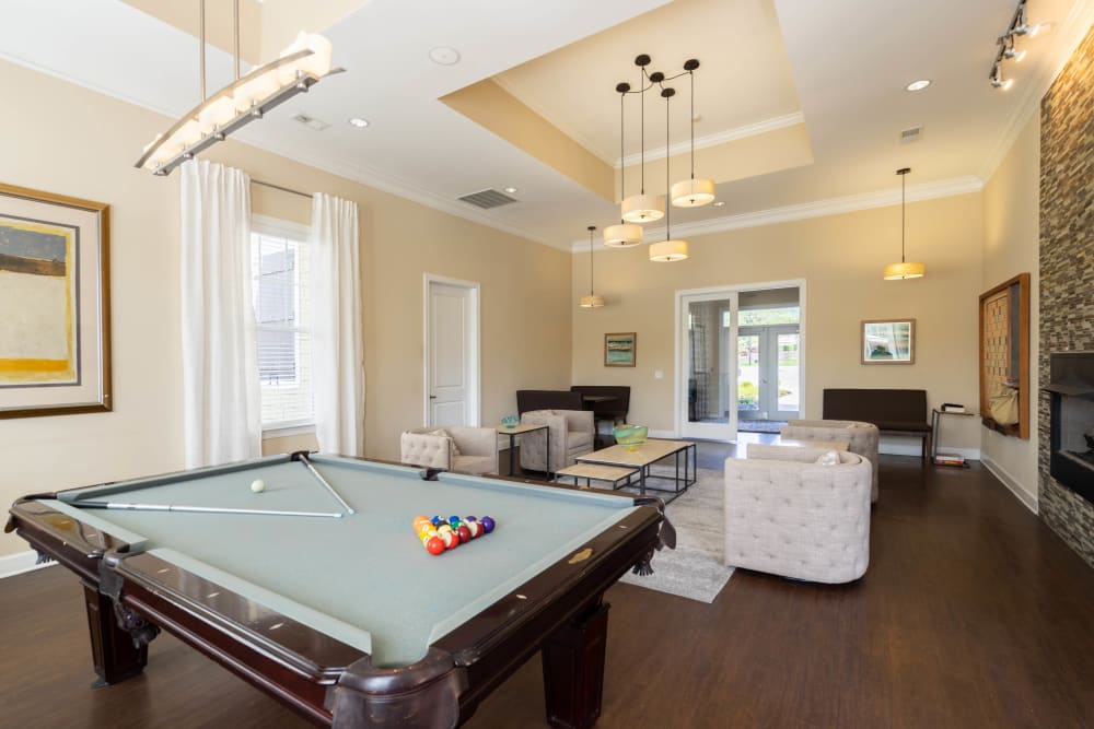 Billiards table in the game room at Legends at White Oak in Ooltewah, Tennessee