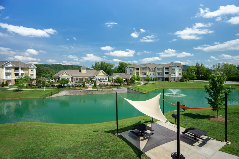 Covered picnic area by the lake at Legends at White Oak in Ooltewah, Tennessee