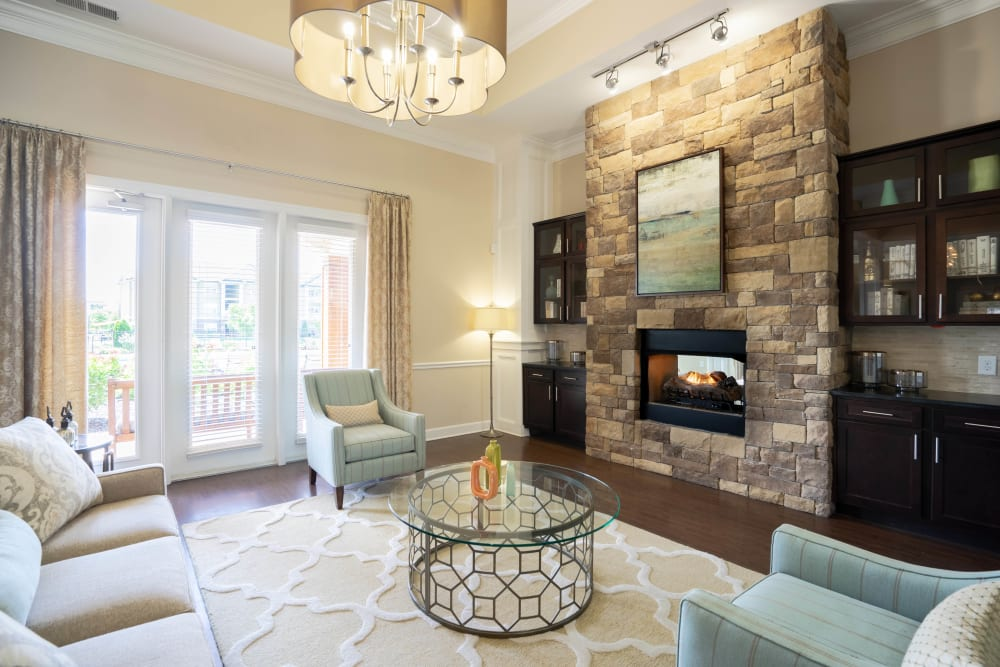 Luxuriously decorated resident clubhouse at Legends at White Oak in Ooltewah, Tennessee