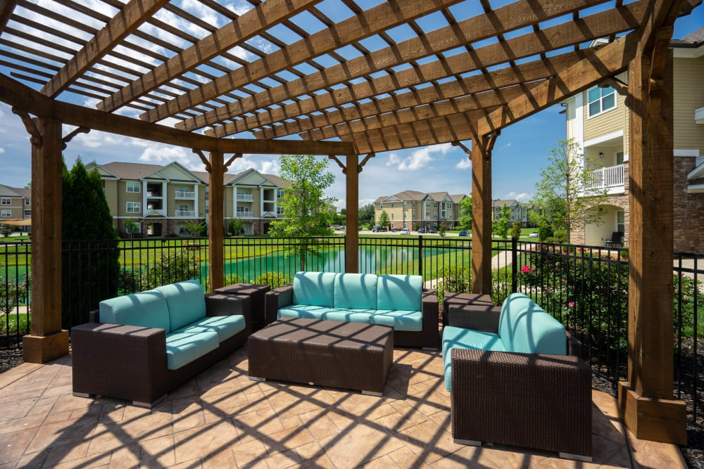 Pergola over one of the outdoor lounge areas at Legends at White Oak in Ooltewah, Tennessee