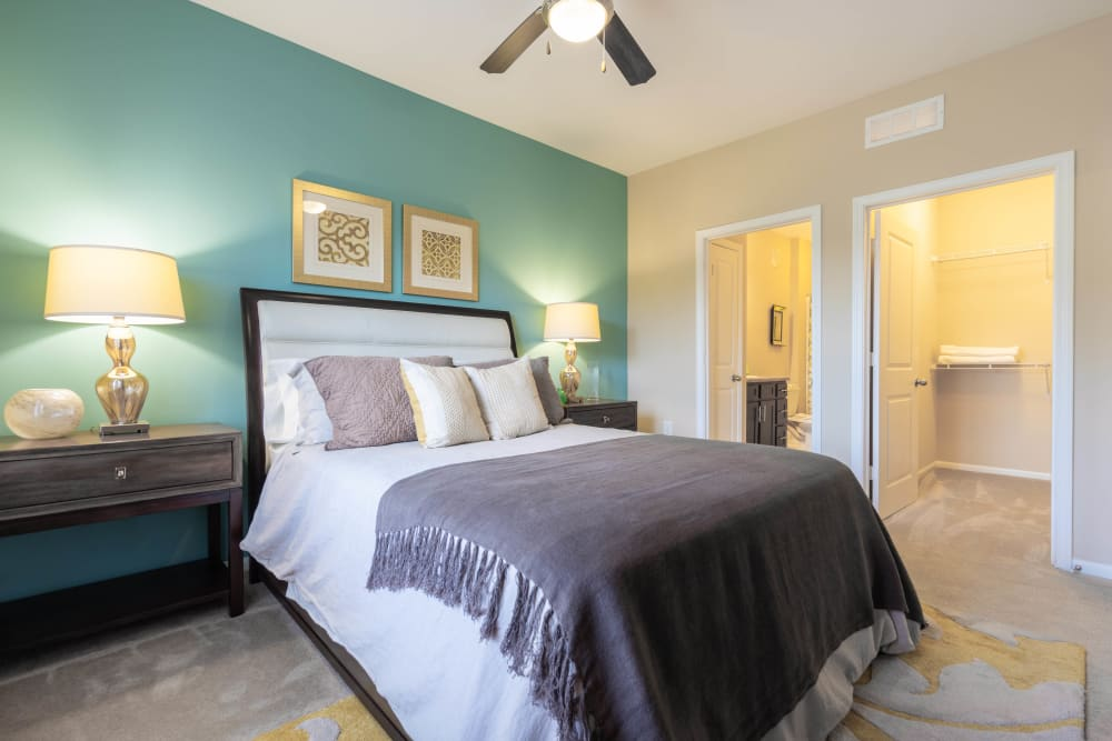 Model apartment home's master bedroom with an accent wall and a ceiling fan at Legends at White Oak in Ooltewah, Tennessee