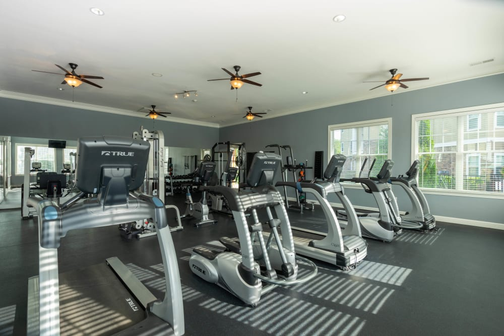 Well-equipped fitness center at Legends at White Oak in Ooltewah, Tennessee