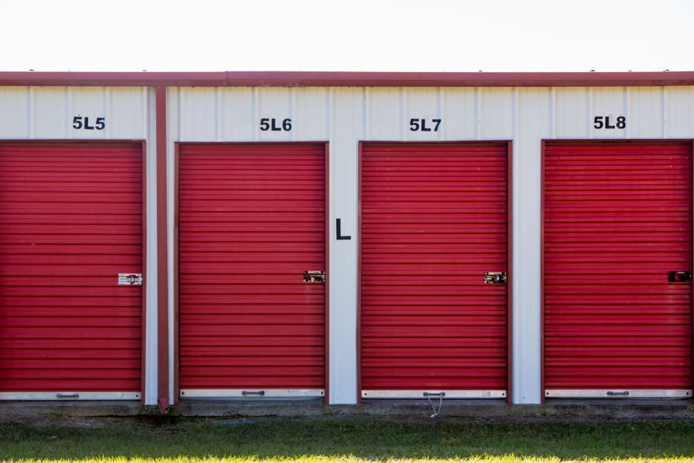 Red storage units at StayLock Storage in Hartsville, South Carolina