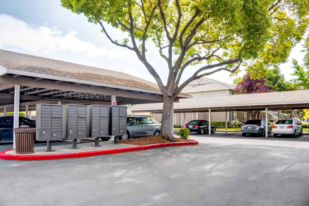 Mailboxes in parking lot at Sofi Berryessa in San Jose, CA