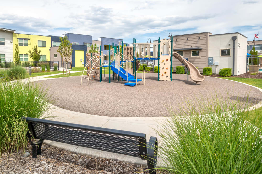 Onsite children's playground at Olympus at Daybreak in South Jordan, Utah