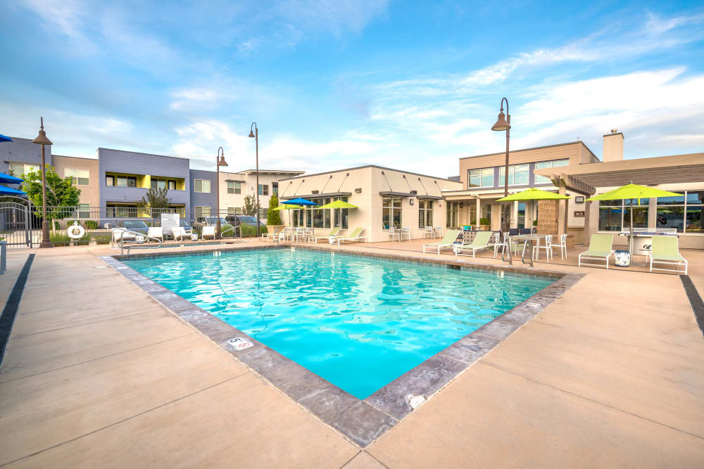 Resort-style swimming pool at Olympus at Daybreak in South Jordan, Utah