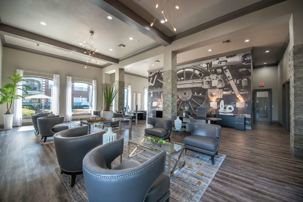 Resident lounge offering gourmet coffee bar at Olympus 7th Street Station in Fort Worth, Texas