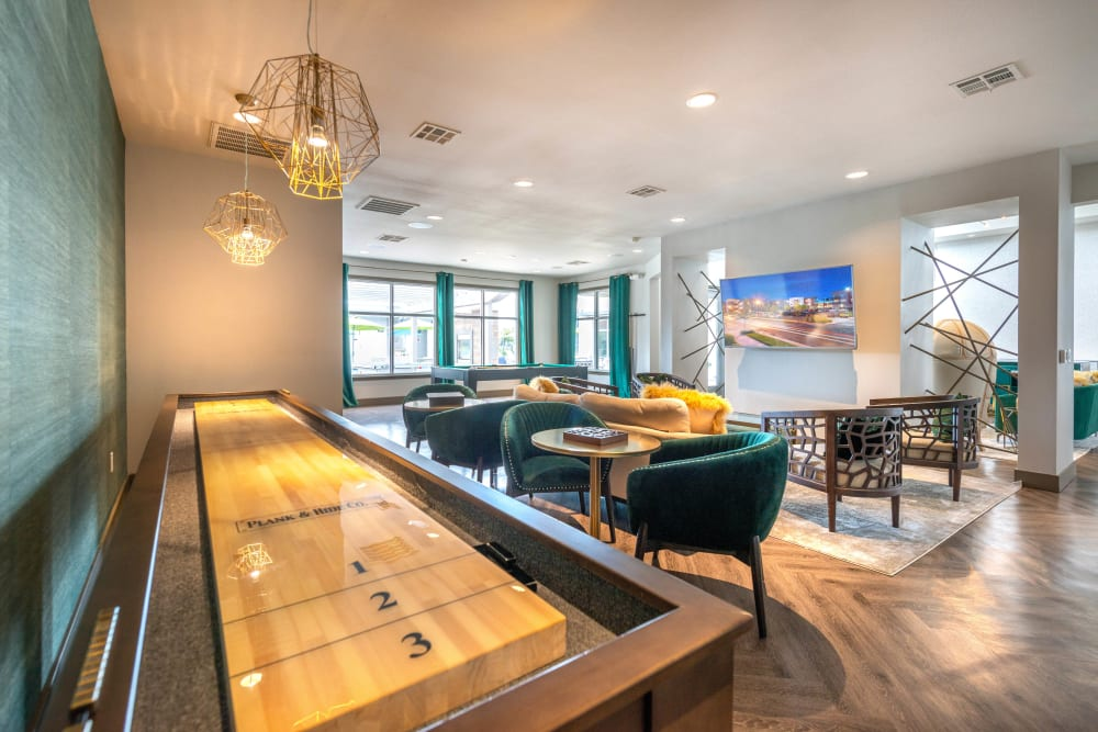 Tabletop shuffleboard in the clubhouse at Olympus at Daybreak in South Jordan, Utah