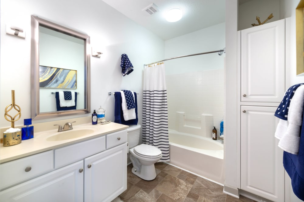 Tiled shower and granite countertop in a model apartment home's bathroom at Olympus Carrington in Pooler, Georgia