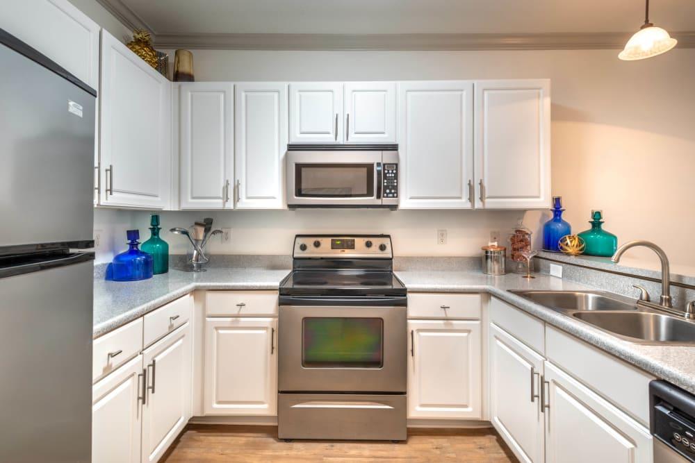 Dual-basin sink and granite countertops in a model apartment's kitchen at Olympus Carrington in Pooler, Georgia