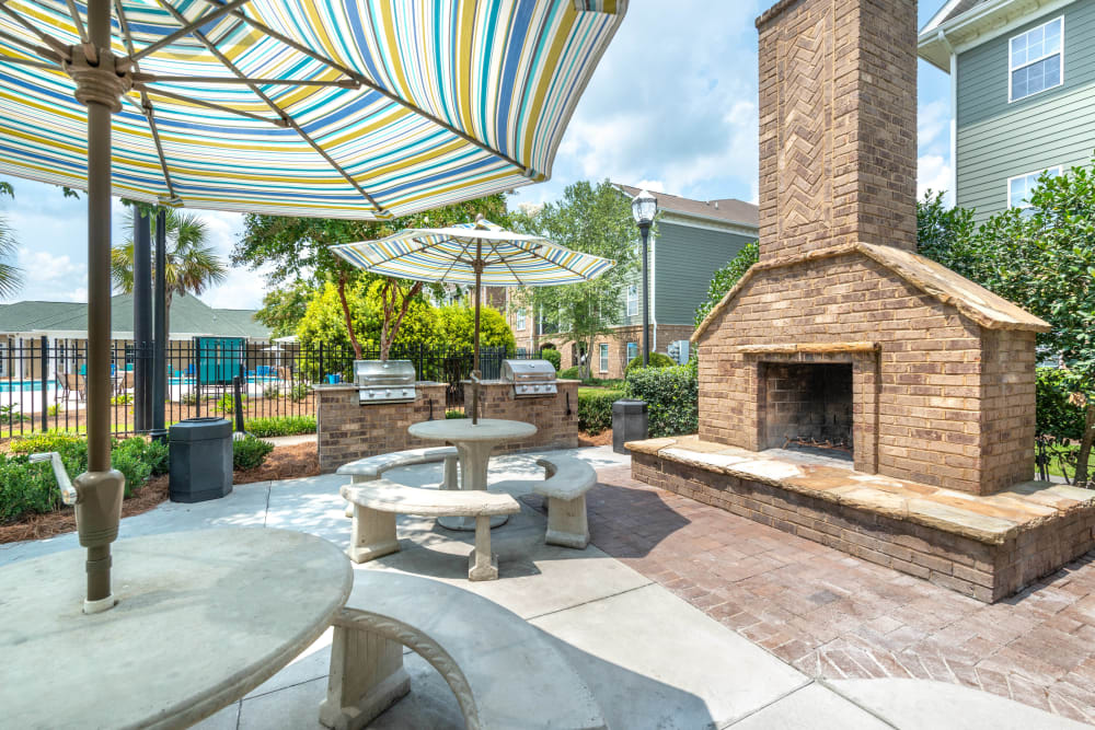 Fire pit lounge area at Olympus Carrington in Pooler, Georgia
