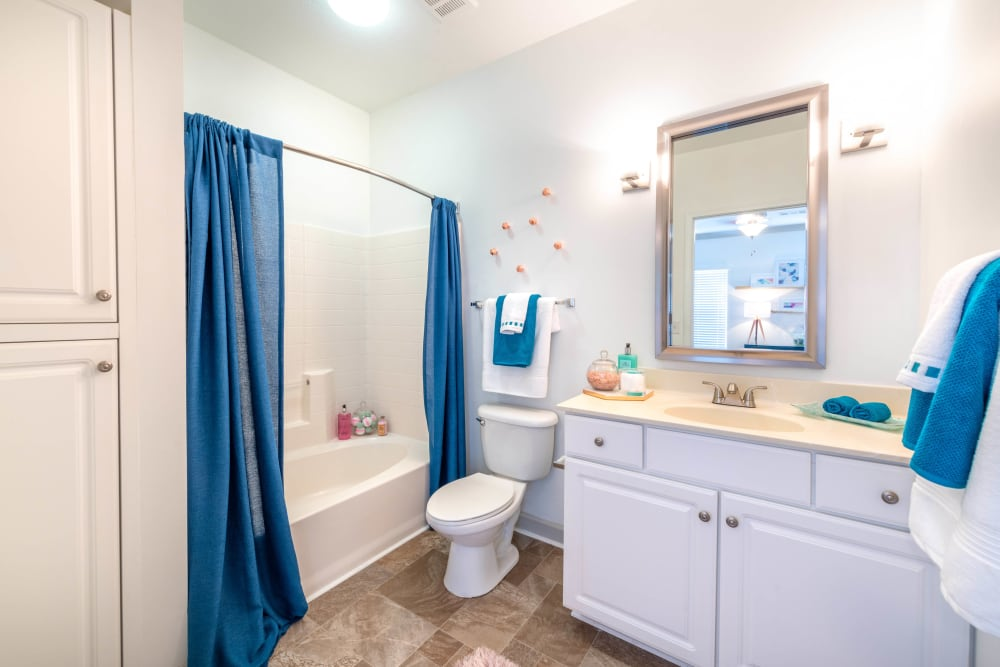 Well-lit bathroom with a vanity mirror in a model home at Olympus Carrington in Pooler, Georgia