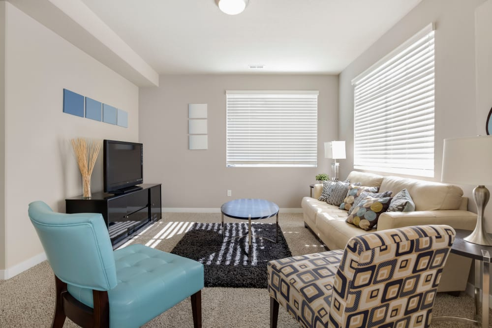 Spacious living room at Olympus at the District in South Jordan, Utah