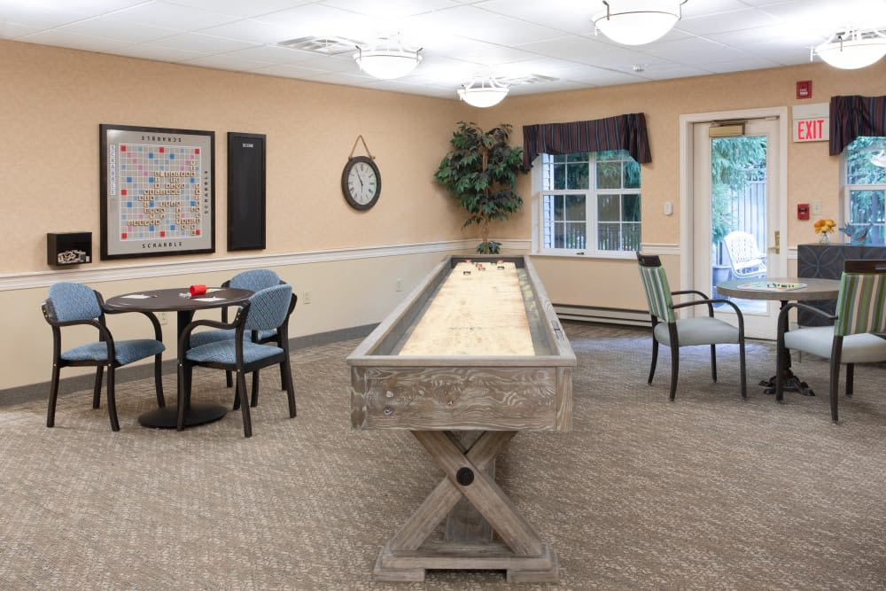 Game room with table games at Governor's Village in Mayfield Village, Ohio