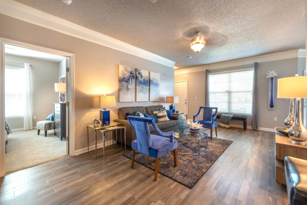 Very well-furnished living space in a model home at Olympus Fenwick in Savannah, Georgia