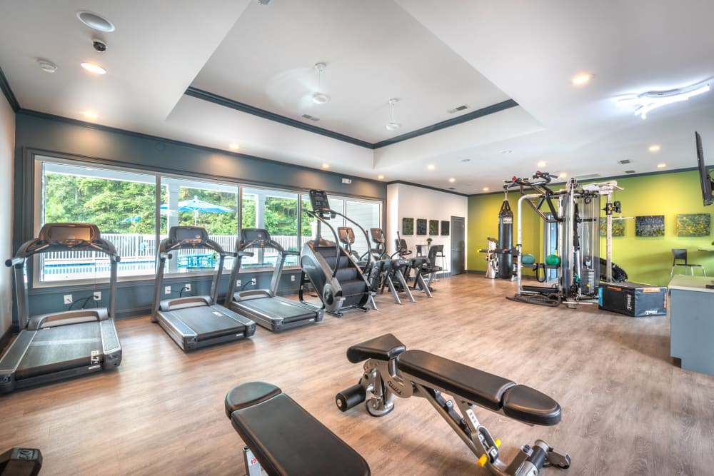 Well-equipped onsite fitness center at Olympus Fenwick in Savannah, Georgia